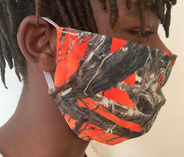 Orange Camo Print Face Cover