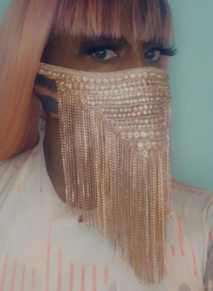 Rose Gold Beaded Fringe Face Mask