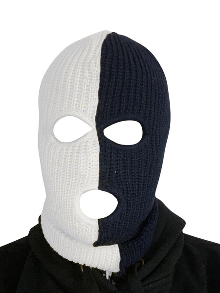 Ski Mask White and Black 3 holes Half  White Half Black Colors