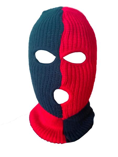Ski Mask Black and Red Checks 3 holes