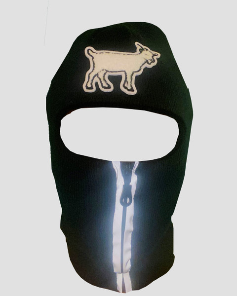 Black reflective zip up Balaclava with goat emblem, ski mask