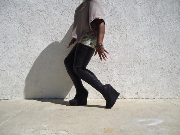 Black Sequin Higher than Thigh High Boots
