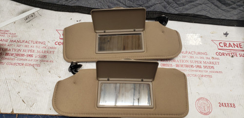 1993-02 SALE FIREBIRD CAMARO PAIR TAN CASHMERE SUN VISOR MIRROR SHADEd VANITY