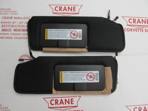 1984-96 CORVETTE NEW BLACK SUN VISOR PAIR