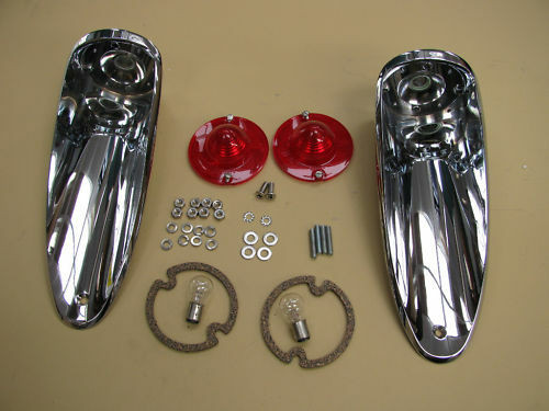 56-57 Corvette COMPLETE TAIL LAMP ASSEMBLY lights lamps light lens rear pair