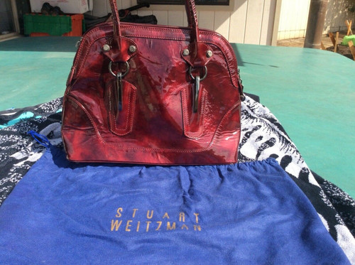 NEW Stuart Weitzman Women Purse Red Patent Leather MEDIUM Shoulder Bag