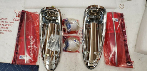 58-60 Corvette COMPLETE TAIL LAMP ASSEMBLY lights lamps light lens rear pair