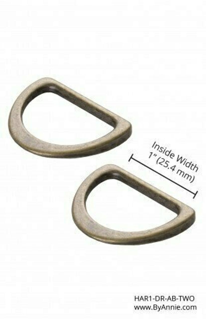 """1"""" Antique Brass Flat D Ring"""