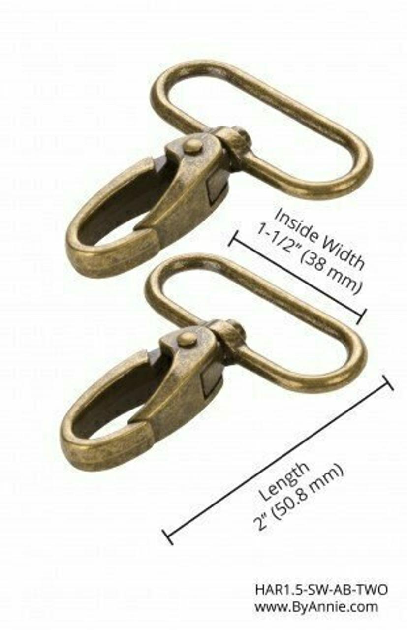"1.5"" Antique Brass Swivel Snap Hook"