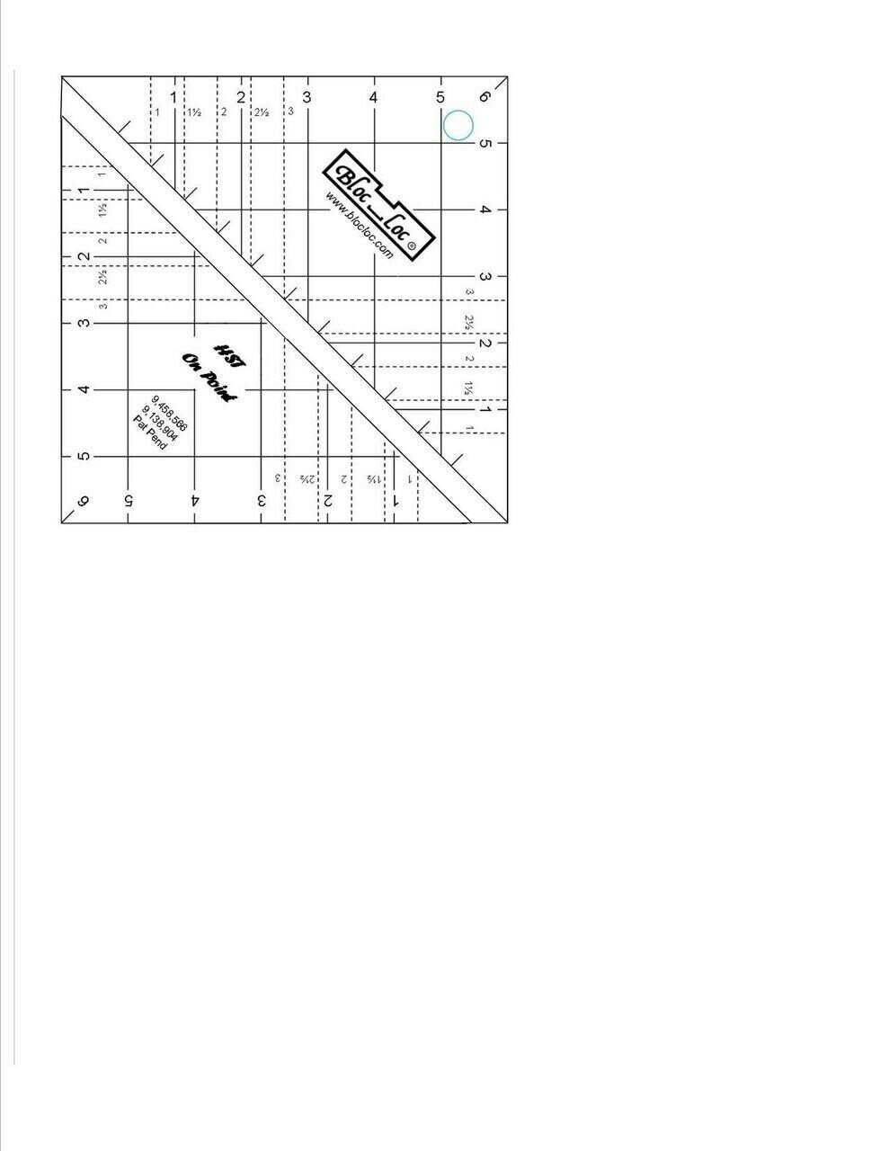 "Bloc Loc Half Square Triangle on Point 6"""