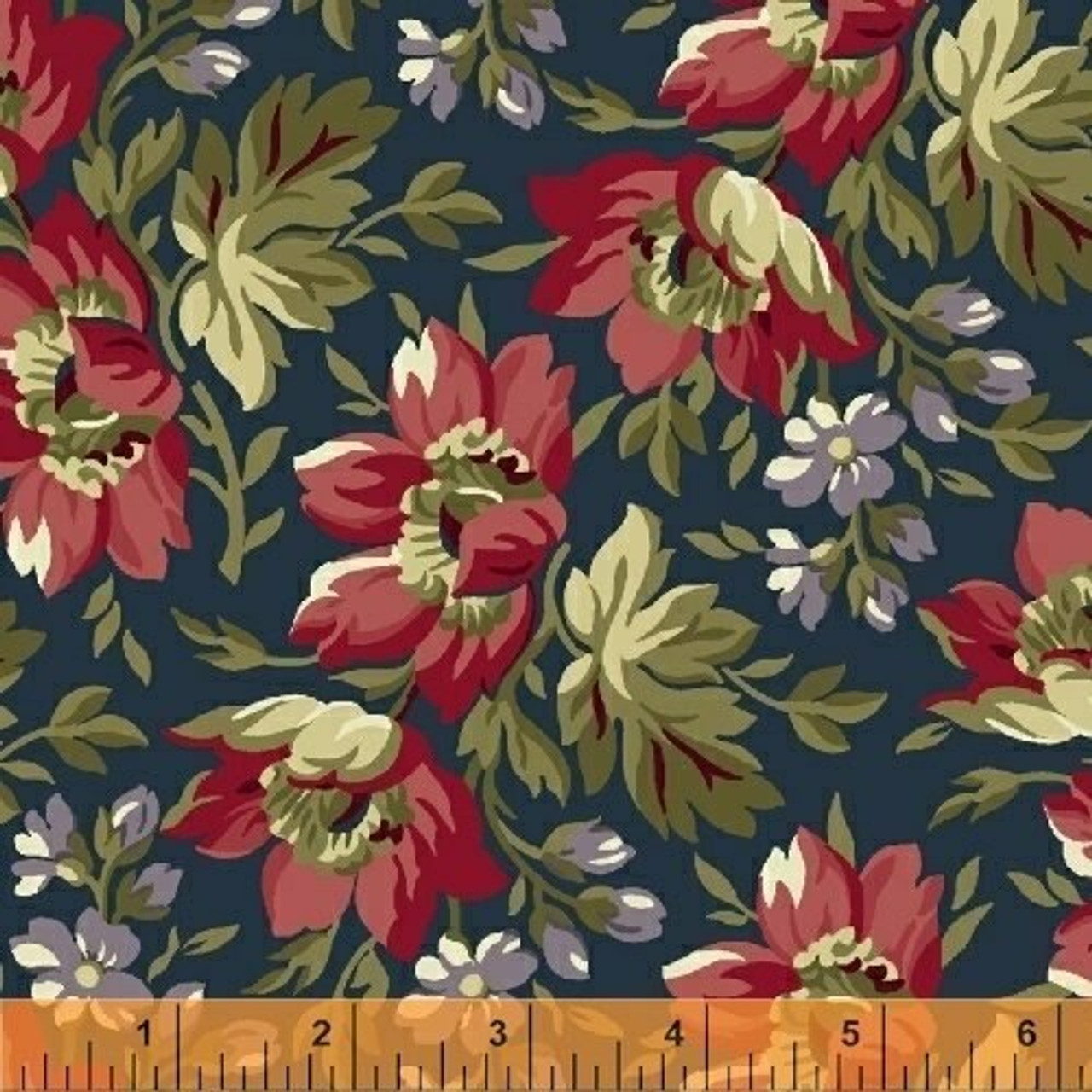 Clayton: 1860 Floral - Navy