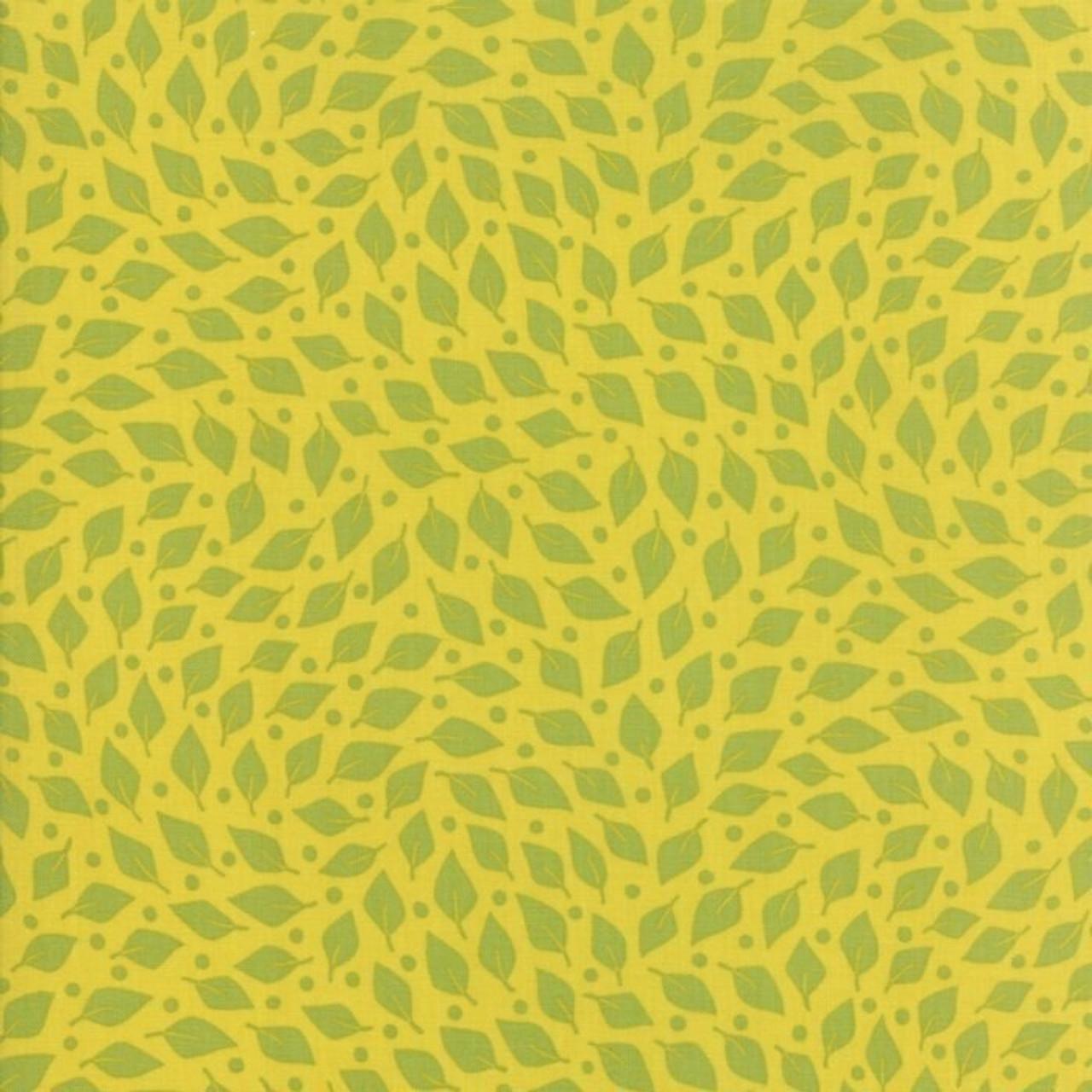 Jen Kingwell : Beach Road Dancing Leaves - Green Papaya