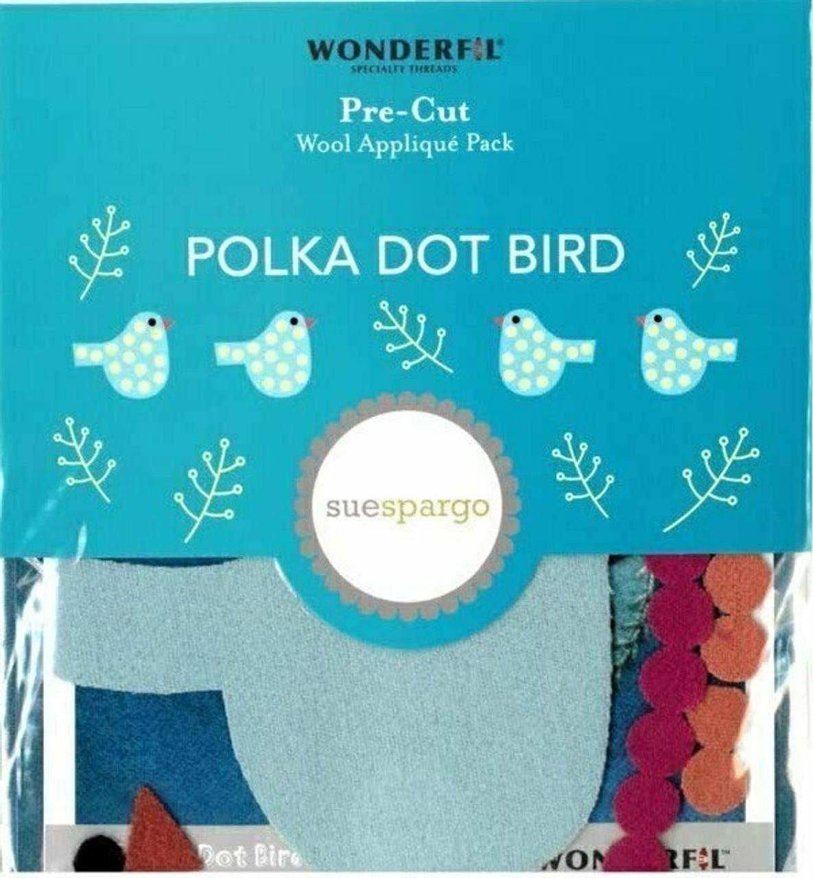 Sue Spargo Polka Dot Bird Pre-cut Wool Applique Pack