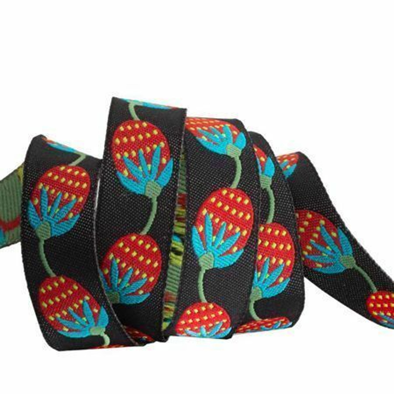 Sue Spargo Ribbon : Berries on Black