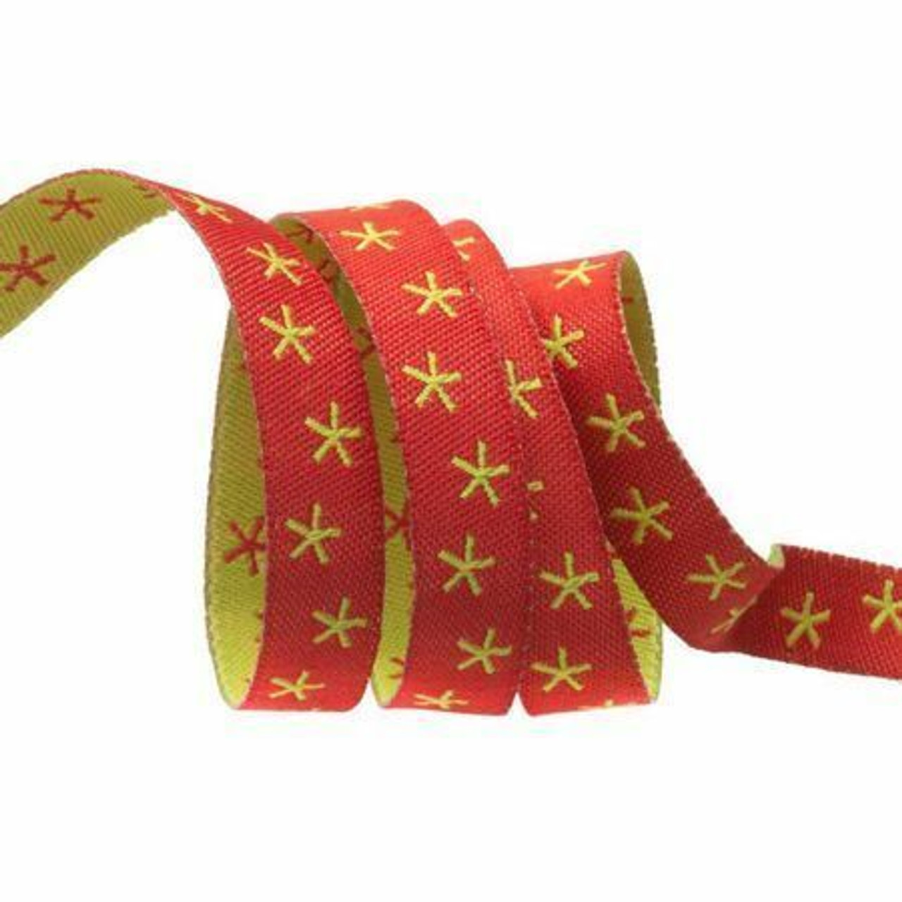 2.5m /'Merry Christmas/' 10mm Wide Red Cotton Ribbon
