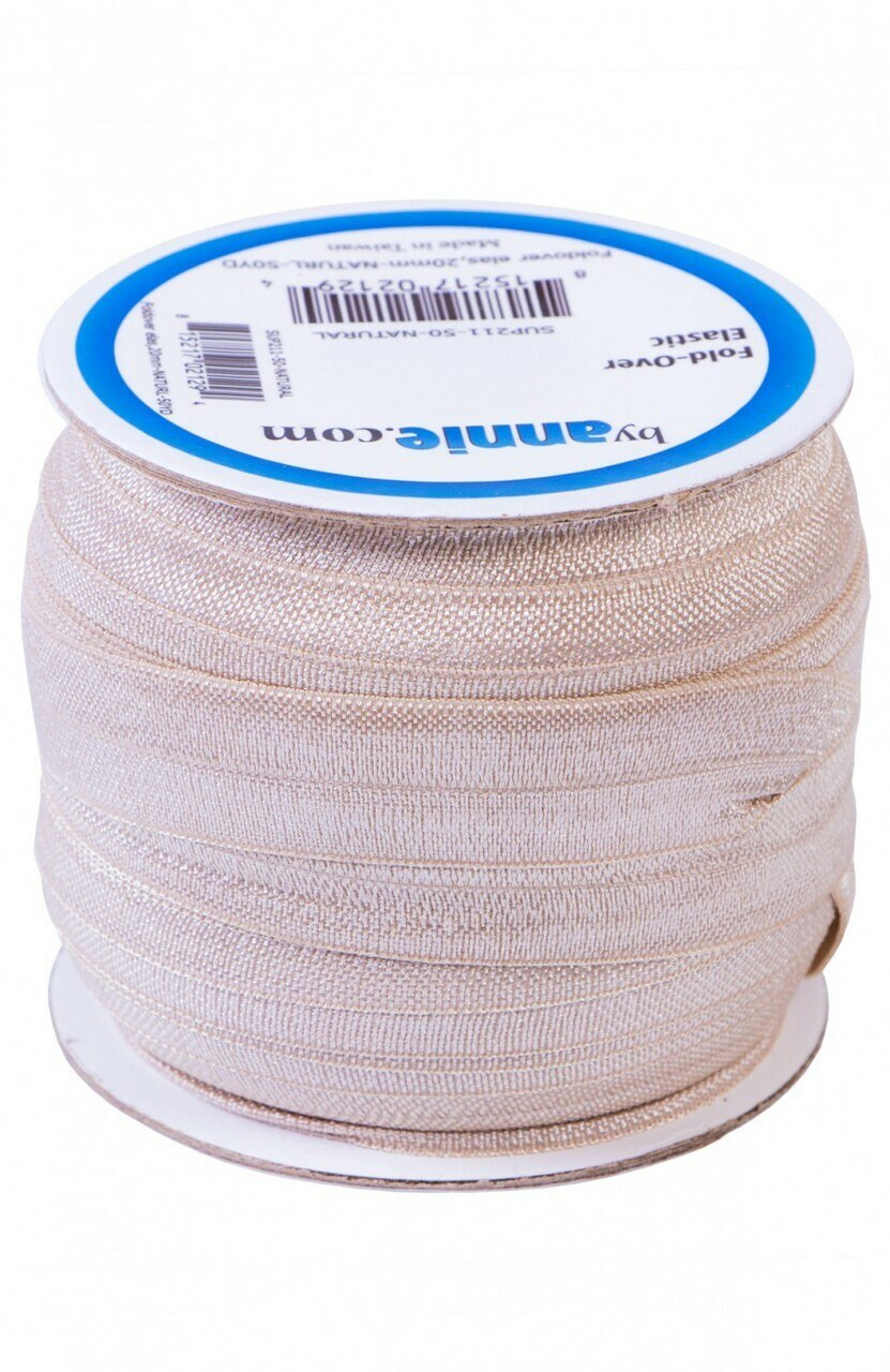 20mm Fold-Over Elastic - Natural