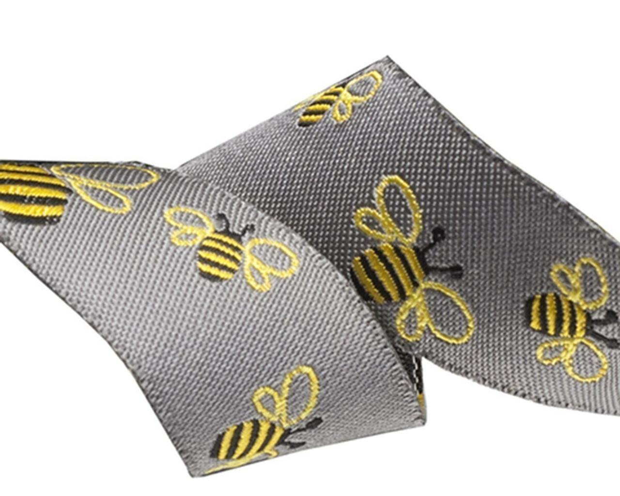 Sue Spargo Ribbon : Bees on Grey