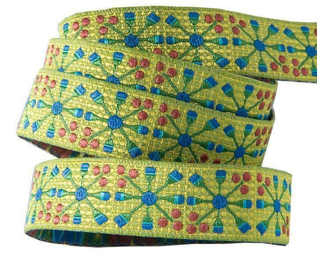 Sue Spargo Ribbon : Blue Flower Wheel on Green