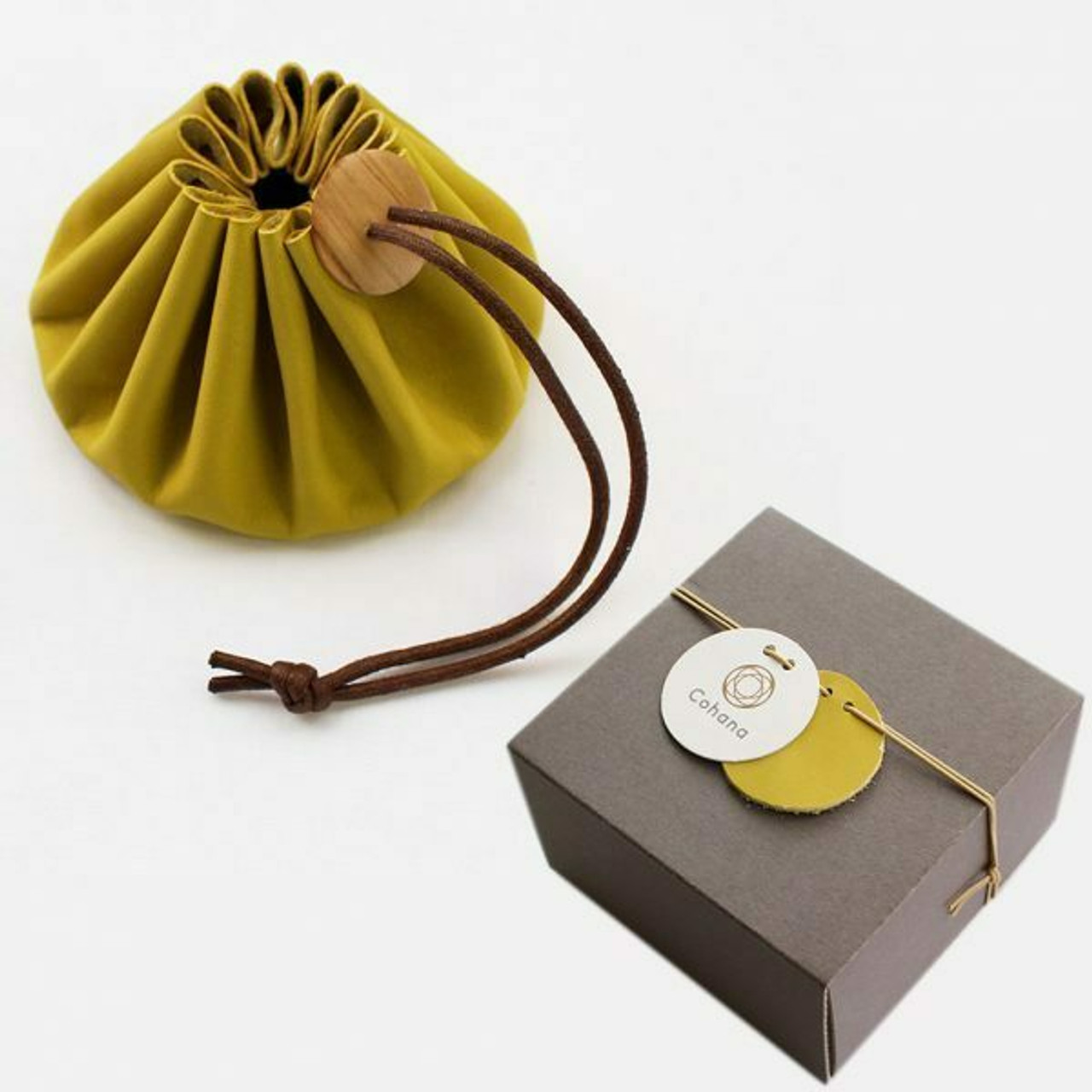 Cohana Drawstring Pouch with Himeji leather