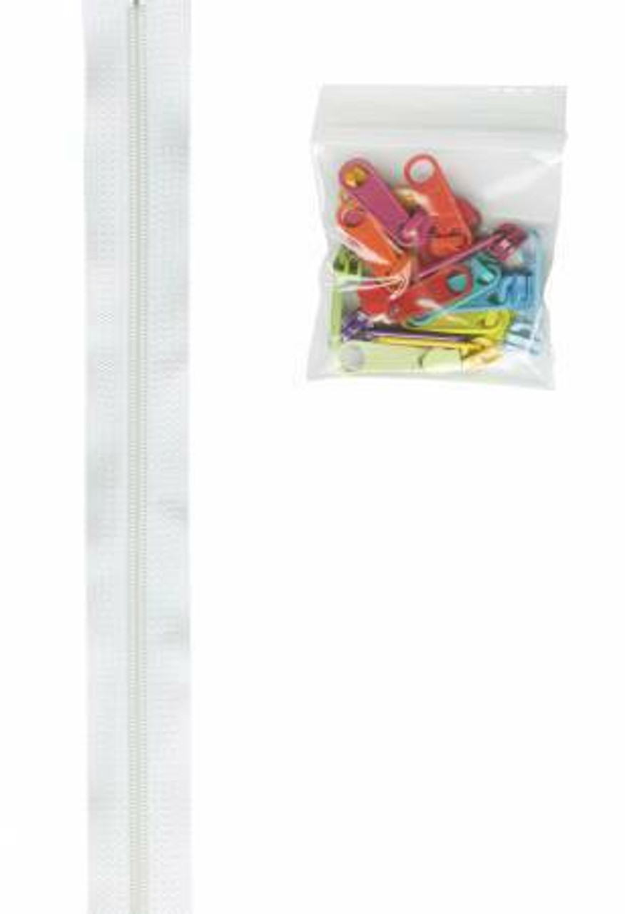 Zippers by the Yard - White with Multi-coloured Pulls