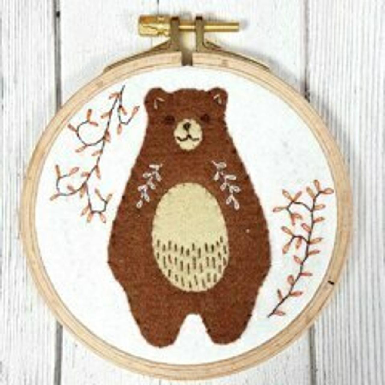 Applique Hoop Folk Bear Mini Kit