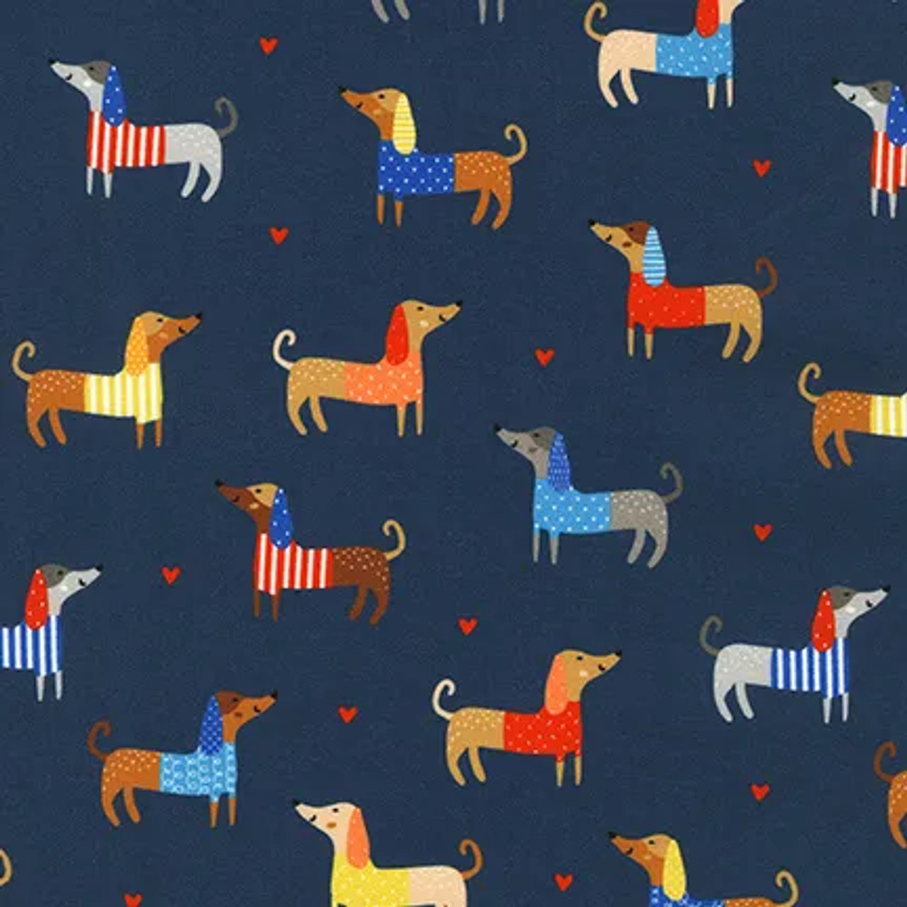 Whiskers and Tails : Allover Coloured Dogs - Navy