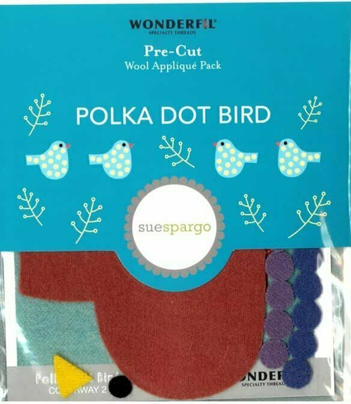 Sue Spargo Polka Dot Bird Pre-cut Wool Applique Pack
