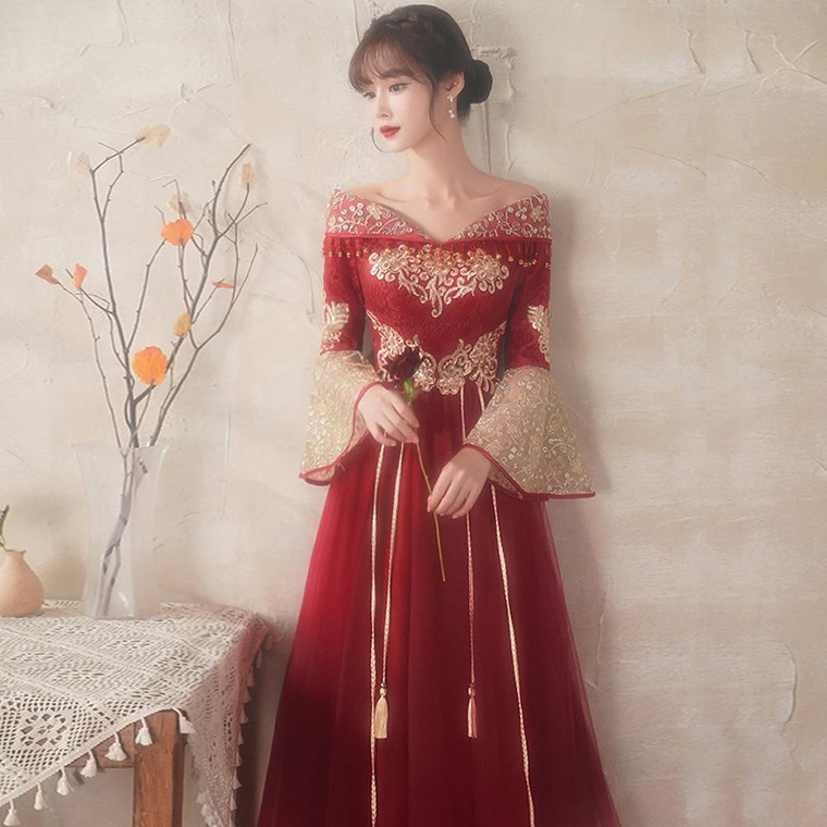 Chinese Women's Wedding Dress Wine Red-Summer Thin Style (Support Customized)