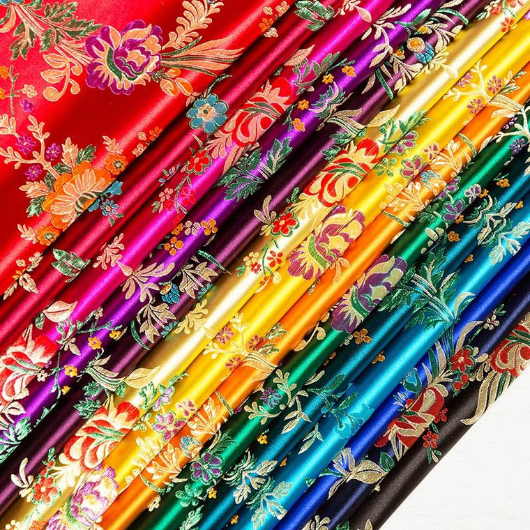 One Piece 75cm Begonia Flower Pattern Imitation Silk Brocade Fabric Per 0.5 Meter for Sewing Clothes Satin Dress Tablecloth
