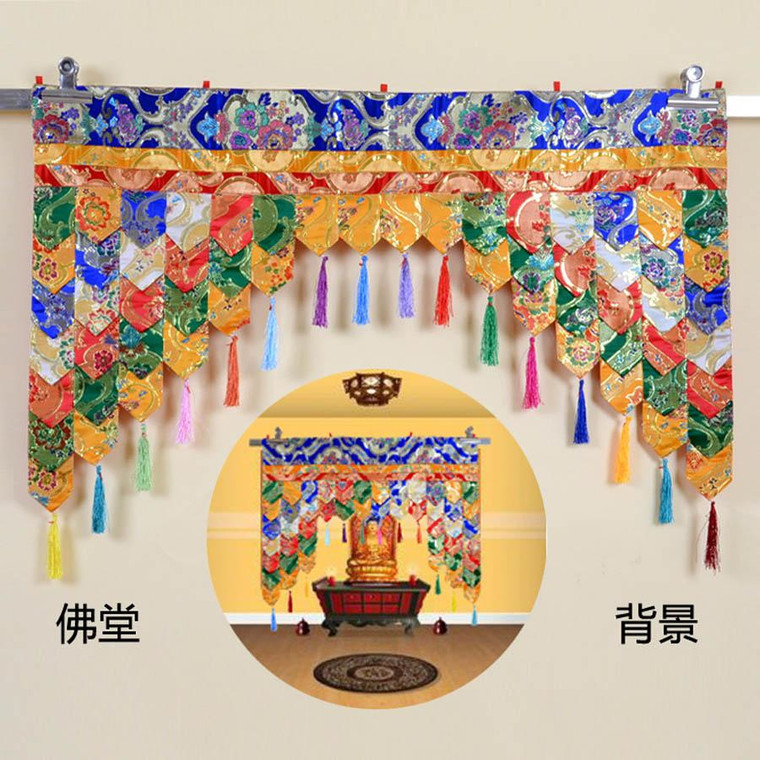 Custom made # Wholesale Buddhist supplie Buddhism family Temple Embroidery wall Hanging Shrine curtain  Altar Enclosing curtain