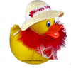 Valentine's Day Rubber Duck with hand crafted bonnet, embroidery, red heart scarf, and red feather bowa
