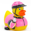 Biker Cyclist (female) Rubber Duck by Ad Line | Ducks in the Window®