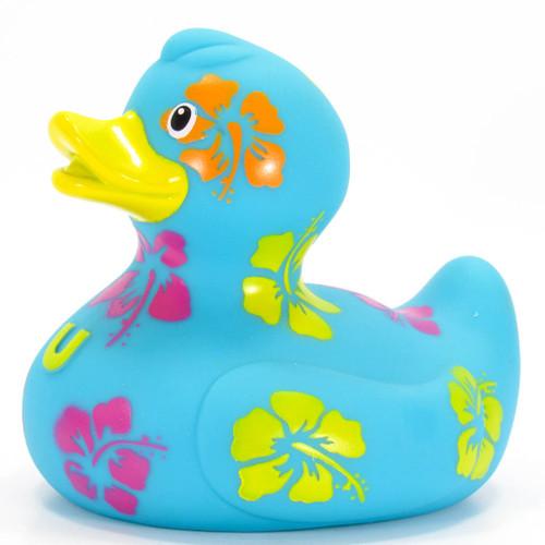 Hawaiian Vacation Hibiscus Flowers Rubber Duck Bath Toy by Bud Ducks | Ducks in the Window®