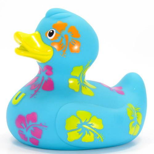 Hawaiian Vacation Hibiscus Flowers Rubber Duck Bath Toy by Bud Ducks | Ducks in the Window®