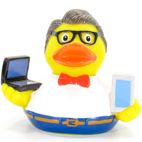 Teacher Professor Male Rubber Duck Bath Toy by Schnabels | Ducks in the Window