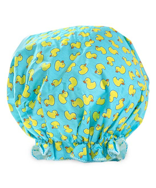 Bouffant Rubber Duck Shower Cap Vintage Cotton by  Spa Sisters