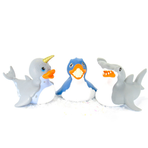 Great White Shark, Hammerhead Shark, Norwhal, Rubber Duck Bundle Set Wild Republic | Ducks in the Window