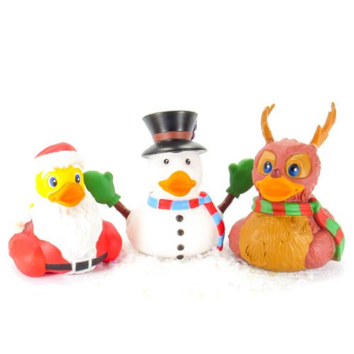 Santa, Snowman, Reindeer, Christmas Rubber Duck Bundle Set Wild Republic | Ducks in the Window