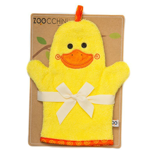 Zoocchini BABY SNOW TERRY BATH MITT - PUDDLES THE DUCK | Ducks in the Window