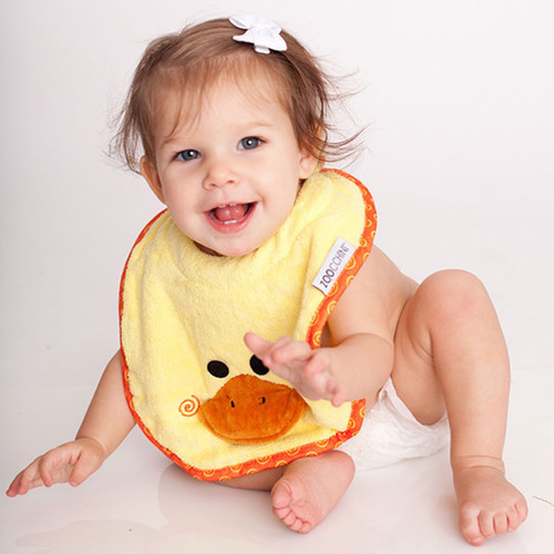 Zoocchini BABY SNOW TERRY BIB - PUDDLES THE DUCK | Ducks in the Window
