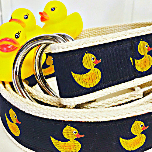 Chatham Ducks branded rubber duck canvas D-Ring preppy belt | Ducks in the Window