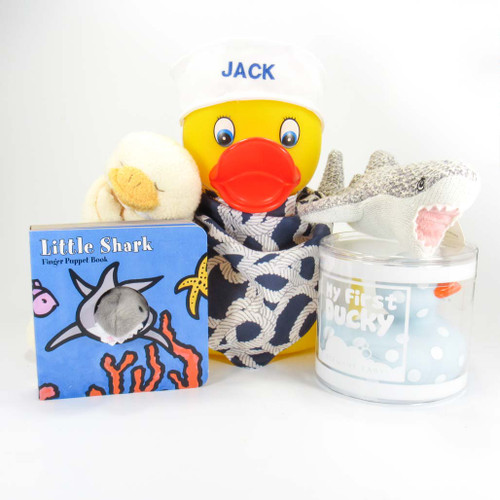 Shark &  Ducky Baby Boy with Large Personalized Duck Gift Bundle | Ducks in the Window