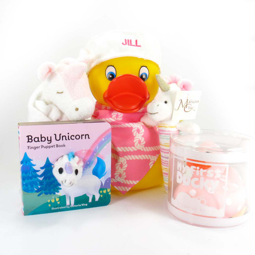Unicorn &  Ducky Baby Girl Gift Bundle with Custom Personalized Large Duck