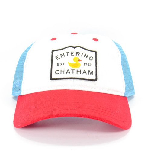 Entering Chatham Ducks in the Window Red/White & Blue with Mesh Backing