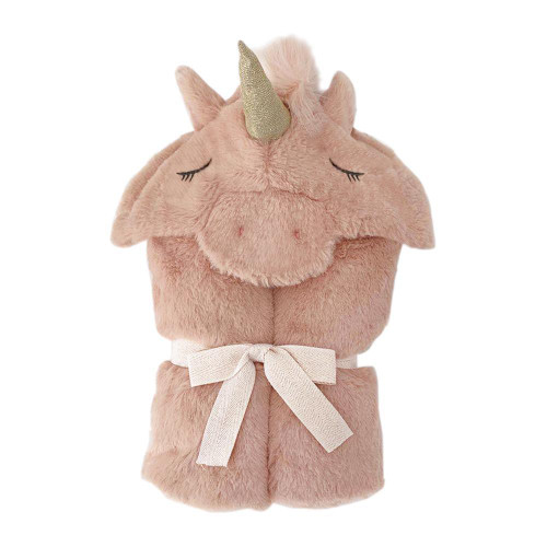 Plush Pink Unicorn Hooded Blanket  by Mon Ami Designs