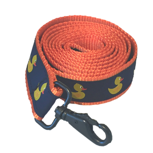 Ducks in the Window Exclusive Cape Cod handmade dog leash with rubber ducky ribbon