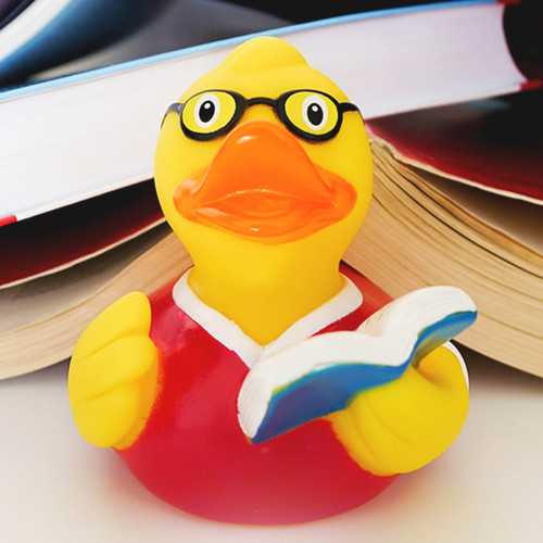 Book Reader Librarian Teacher Rubber Duck by LILALU bath toy | Ducks in the Window