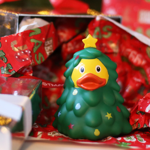 Christmas Tree Holidays Rubber Duck by LILALU bath toy | Ducks in the Window