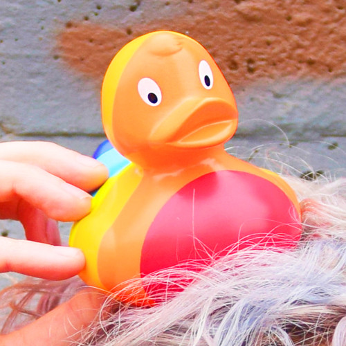 Rainbow Colors Rubber Duck by LILALU bath toy | Ducks in the Window