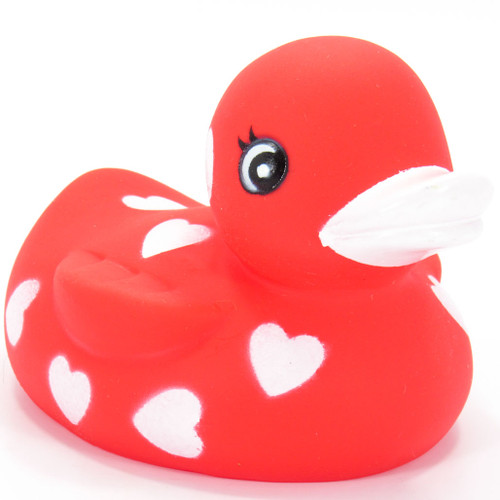 Red White Hearts Valentine Lover Rubber Duck by Ad Line | Ducks in the Window®
